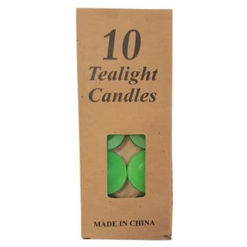 10 PACKS (100 candles) GREEN WAX TEA LIGHT CANDLES christmas party